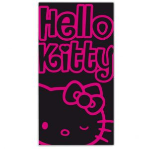 Toalla Playa Hello Kitty Negro-Rosa